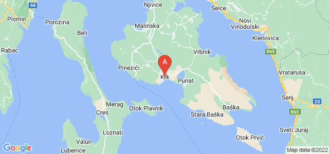map of Krk, Croatia