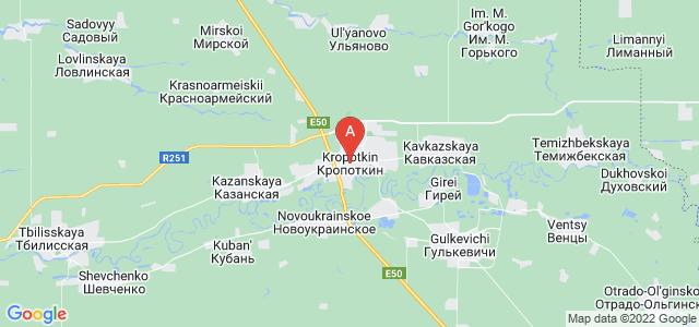 map of Kropotkin, Russia