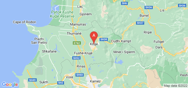 map of Krujë, Albania