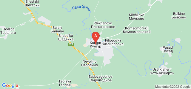 map of Kungur, Russia