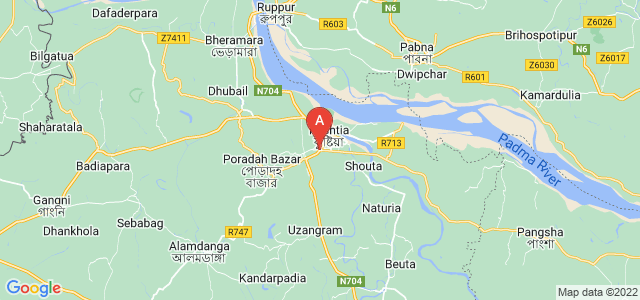 map of Kushtia, Bangladesh