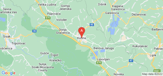 map of Kutina, Croatia