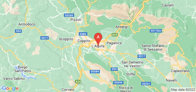 map of L'Aquila, Italy