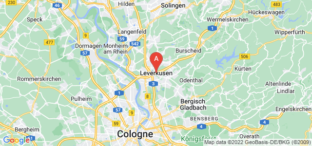 map of Leverkusen, Germany
