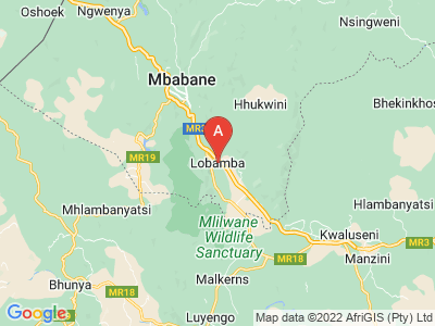 map of Lobamba, Swaziland