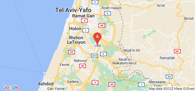 map of Lod, Israel