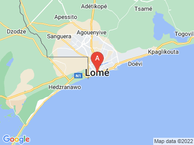 map of Lomé, Togo