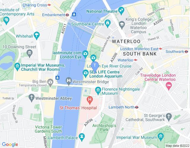 Location map for London County Hall