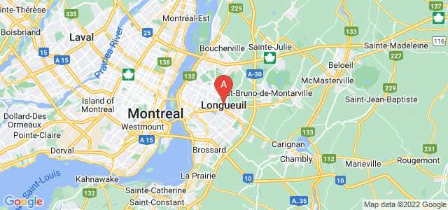 map of Longueuil, Canada