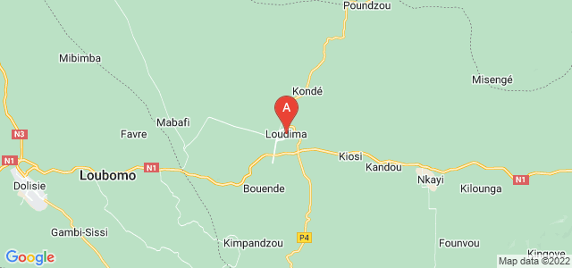 map of Loudima, Republic of the Congo