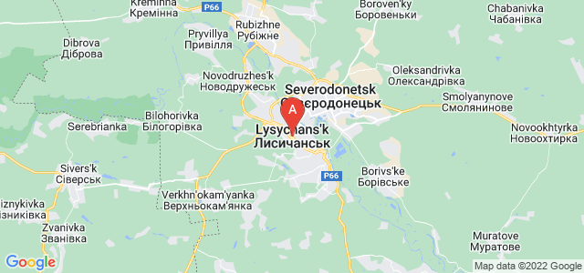 map of Lysychansk, Ukraine