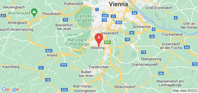 map of Mödling, Austria
