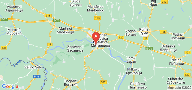 map of Mačvanska Mitrovica, Serbia