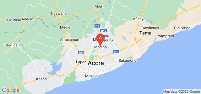 map of Madina, Ghana