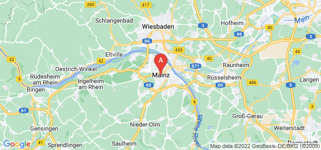 map of Mainz, Germany