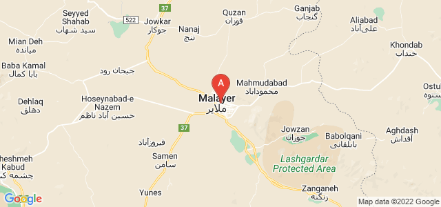 map of Malayer, Iran