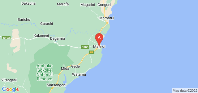 map of Malindi, Kenya