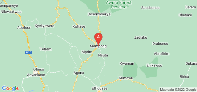 map of Mampong, Ghana