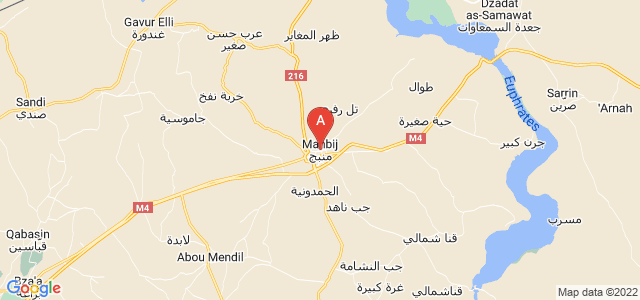 map of Manbij, Syria