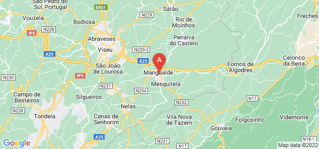 map of Mangualde, Portugal