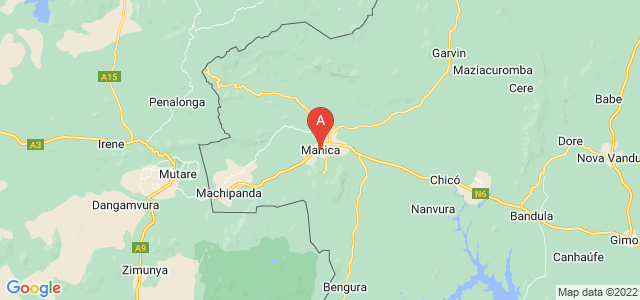 map of Manica, Mozambique