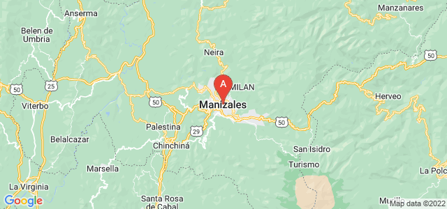 map of Manizales, Colombia