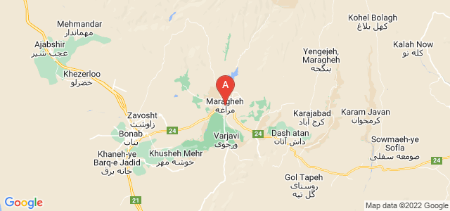 map of Maragheh, Iran
