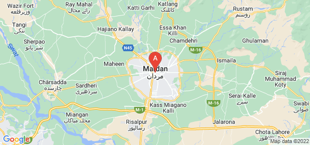 map of Mardan, Pakistan