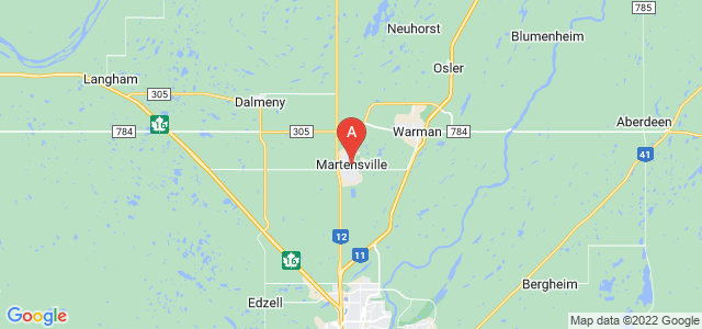 map of Martensville, Canada