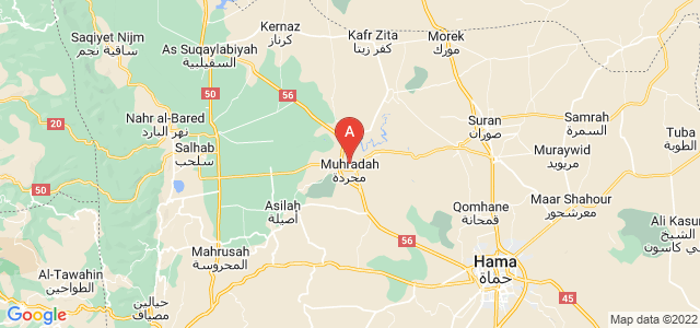 map of Mhardeh, Syria