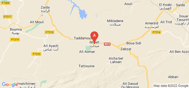 map of Midelt, Morocco