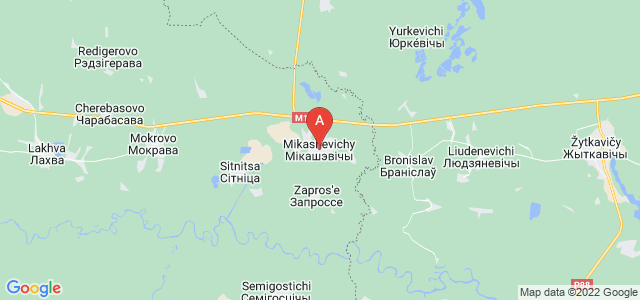 map of Mikashevichy, Belarus