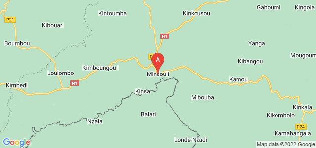 map of Mindouli, Republic of the Congo