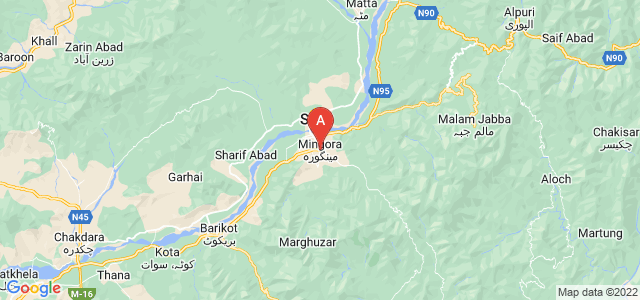 map of Mingora, Pakistan