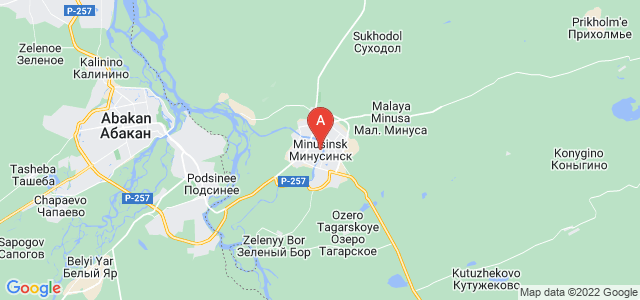 map of Minusinsk, Russia