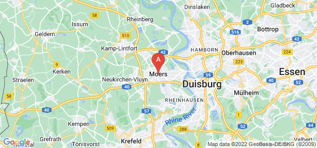 map of Moers, Germany
