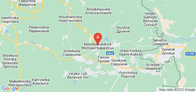 map of Molodohvardiysk, Ukraine