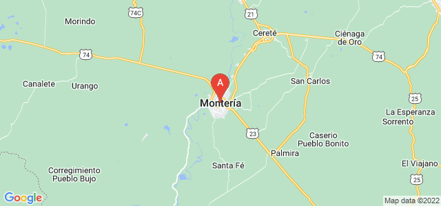 map of Montería, Colombia