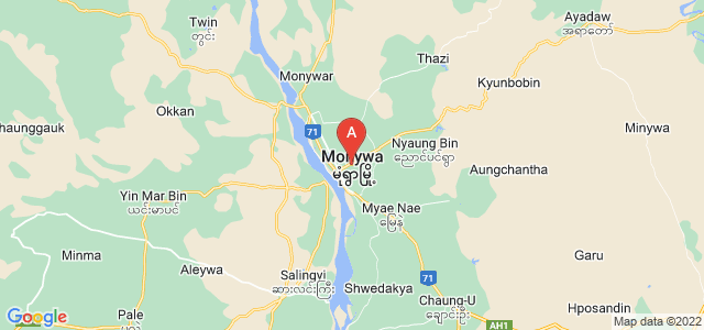 map of Monywa, Myanmar