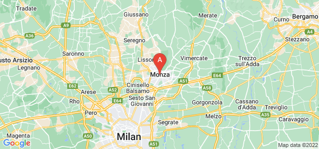 map of Monza, Italy