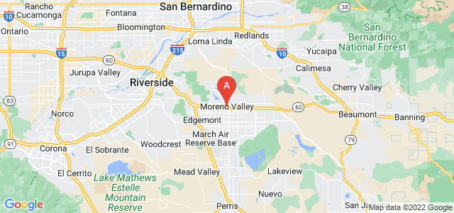 map of Moreno Valley, United States of America