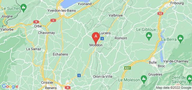 map of Moudon, Switzerland