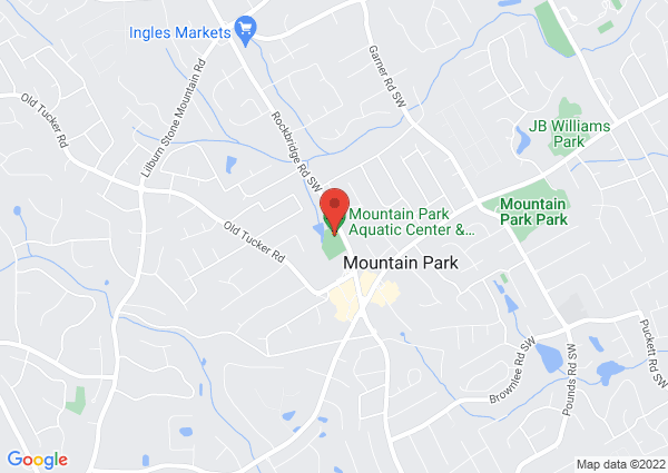 Map of Mountain Park Aquatic Center & Activity Building, Rockbridge Road Southwest, Stone Mountain, GA, USA