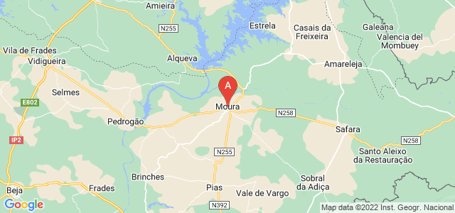 map of Moura, Portugal