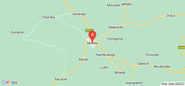 map of Mueda, Mozambique