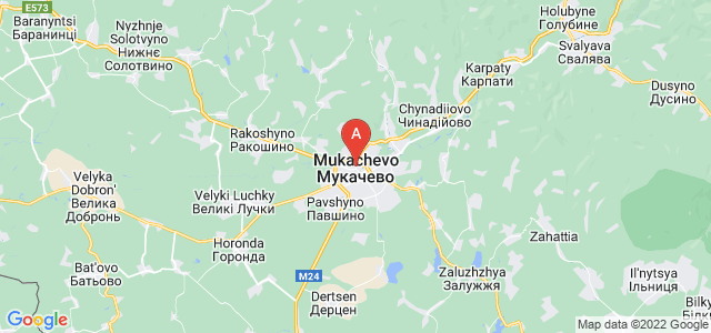 map of Mukachevo, Ukraine