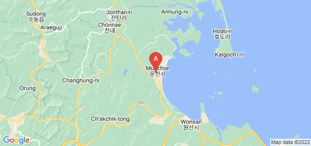 map of Munchon, North Korea