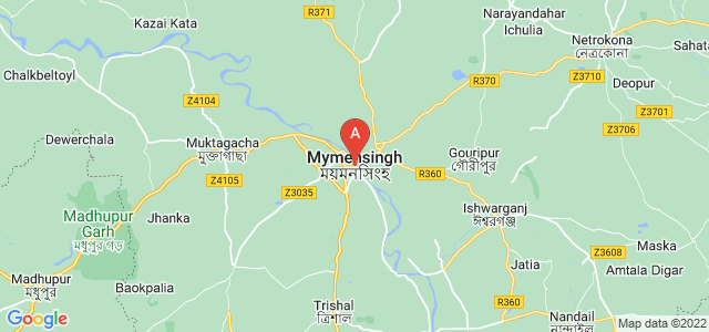map of Mymensingh, Bangladesh