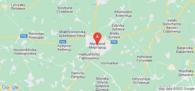 map of Myrhorod, Ukraine