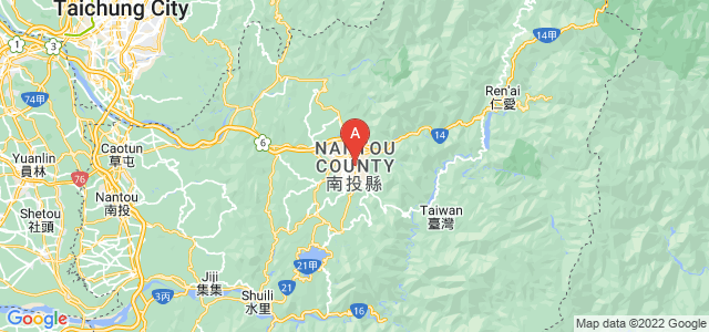map of Nantou, Taiwan